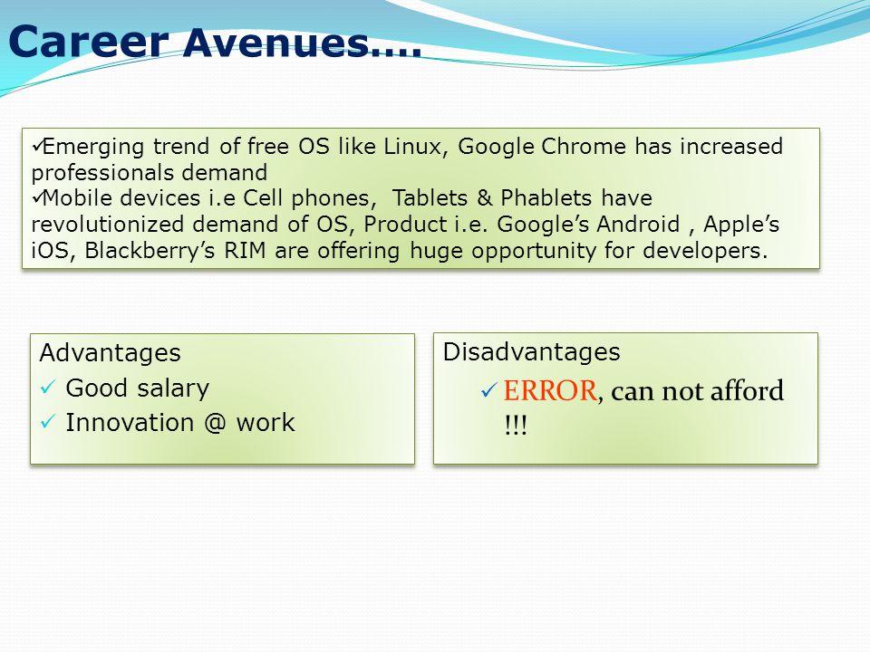 Career Avenues….