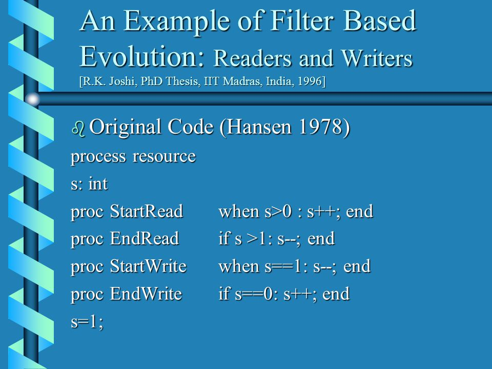 An Example of Filter Based Evolution: Readers and Writers [R.K.