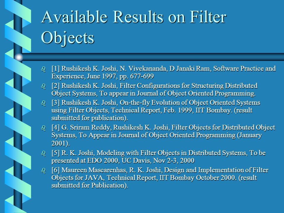 Available Results on Filter Objects b [1] Rushikesh K.