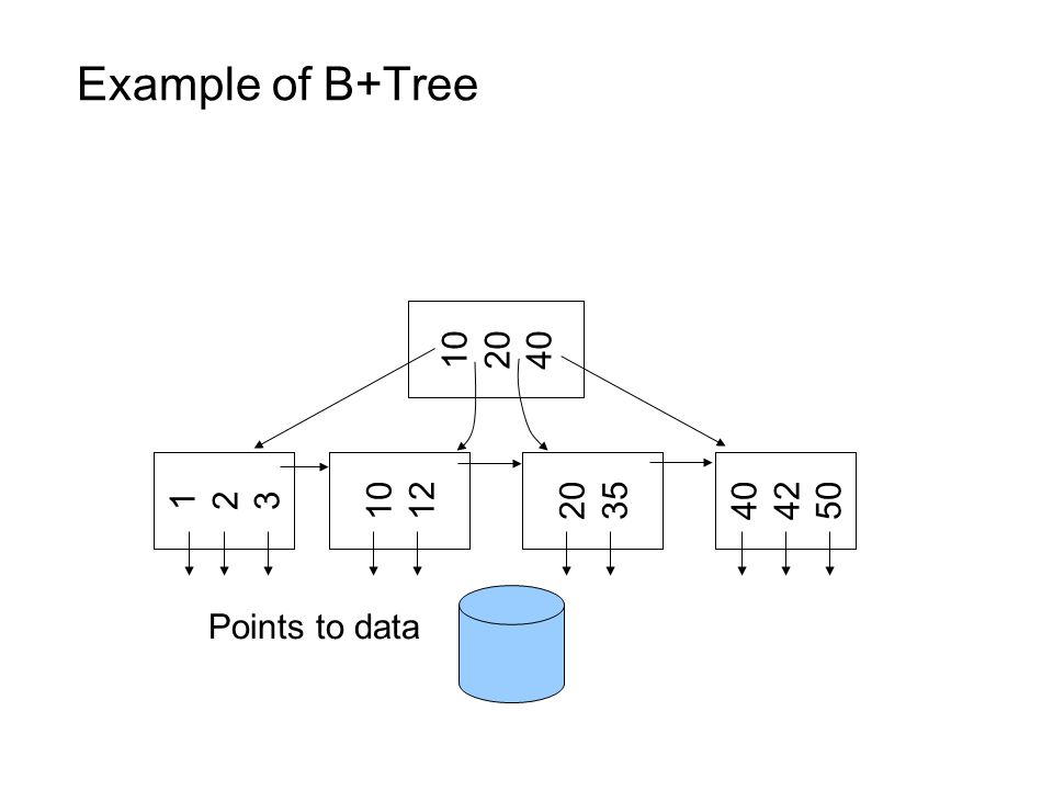Example of B+Tree 10 20 40 123123 10 12 20 35 40 42 50 Points to data