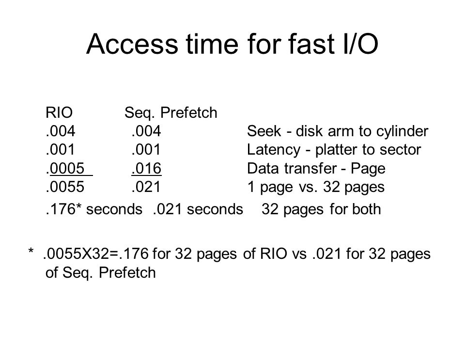 Access time for fast I/O RIO Seq. Prefetch.004.004 Seek - disk arm to cylinder.001.001 Latency - platter to sector.0005.016 Data transfer - Page.0055.