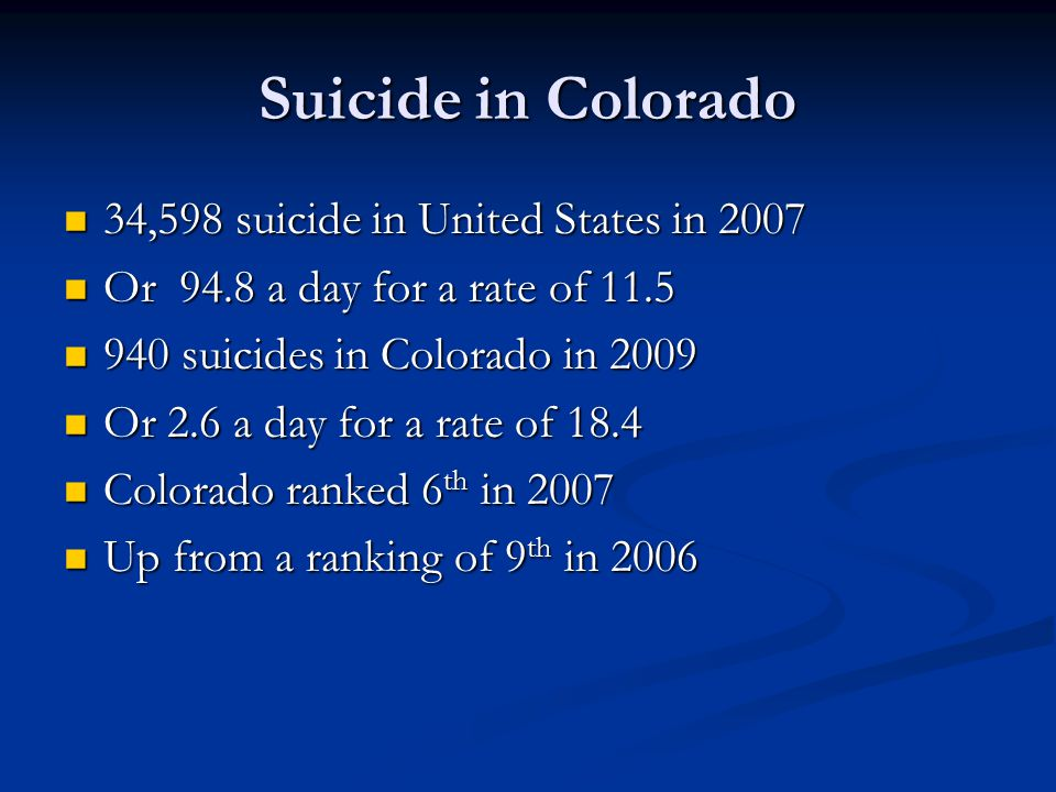 Suicide in Colorado 34,598 suicide in United States in 2007 34,598 suicide in United States in 2007 Or 94.8 a day for a rate of 11.5 Or 94.8 a day for a rate of 11.5 940 suicides in Colorado in 2009 940 suicides in Colorado in 2009 Or 2.6 a day for a rate of 18.4 Or 2.6 a day for a rate of 18.4 Colorado ranked 6 th in 2007 Colorado ranked 6 th in 2007 Up from a ranking of 9 th in 2006 Up from a ranking of 9 th in 2006