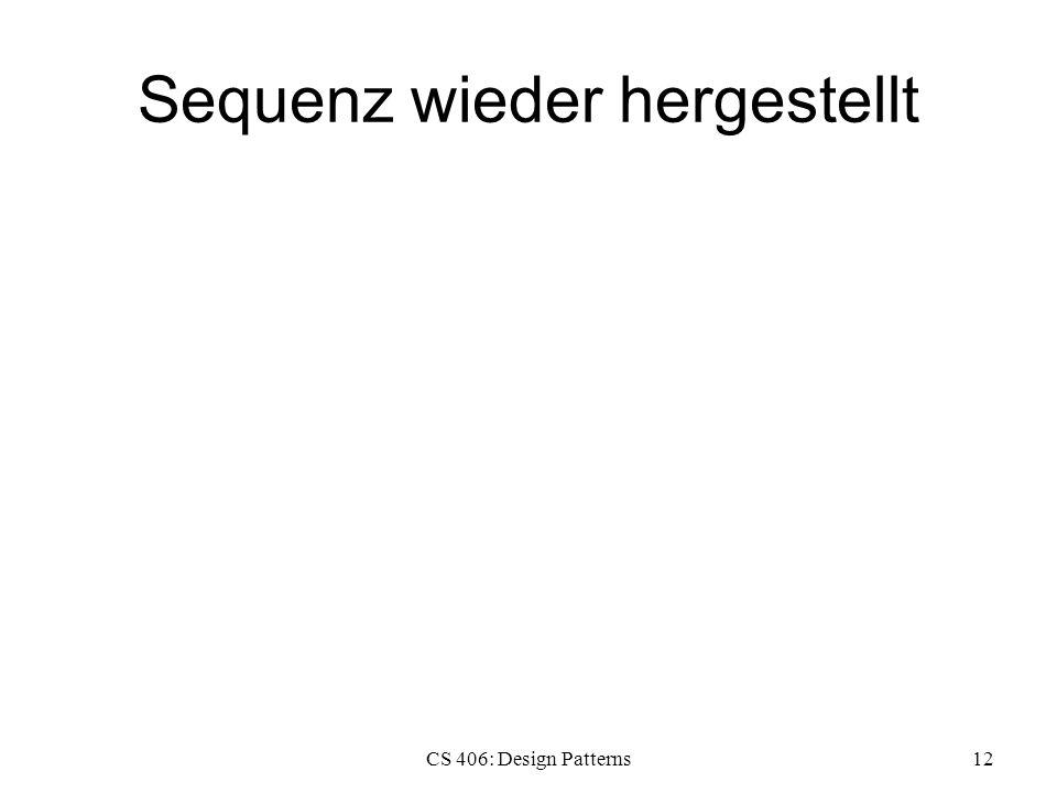 Sequenz wieder hergestellt CS 406: Design Patterns12
