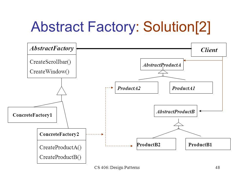 CS 406: Design Patterns48 Abstract Factory: Solution[2] AbstractFactory CreateScrollbar() CreateWindow() ConcreteFactory1 Client ProductA1ProductA2 AbstractProductA ProductB2ProductB1 AbstractProductB ConcreteFactory2 CreateProductA() CreateProductB()