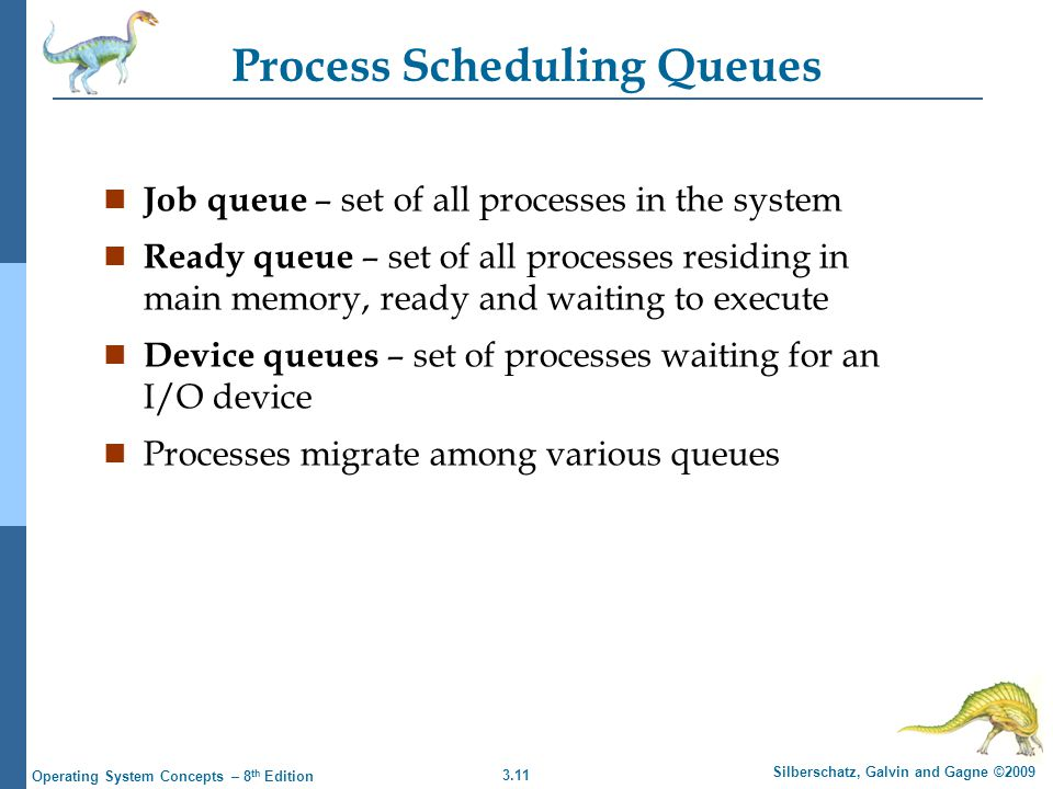 3.11 Silberschatz, Galvin and Gagne ©2009 Operating System Concepts – 8 th Edition Process Scheduling Queues n Job queue – set of all processes in the system n Ready queue – set of all processes residing in main memory, ready and waiting to execute n Device queues – set of processes waiting for an I/O device n Processes migrate among various queues