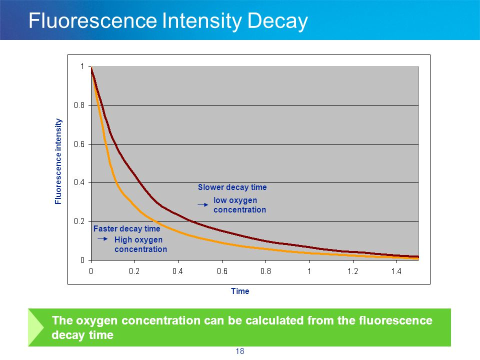 18 The oxygen concentration can be calculated from the fluorescence decay time High oxygen concentration low oxygen concentration Time Fluorescence intensity Fluorescence Intensity Decay Slower decay time Faster decay time