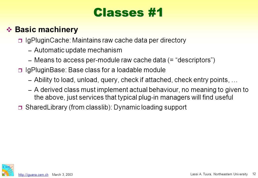 March 3, 2003 Lassi A. Tuura, Northeastern University http://iguana.cern.ch 12 Classes #1 v Basic machinery r IgPluginCache: Maintains raw cache data