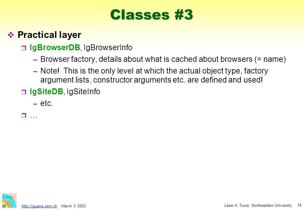 March 3, 2003 Lassi A. Tuura, Northeastern University http://iguana.cern.ch 14 Classes #3 v Practical layer r IgBrowserDB, IgBrowserInfo – Browser fac