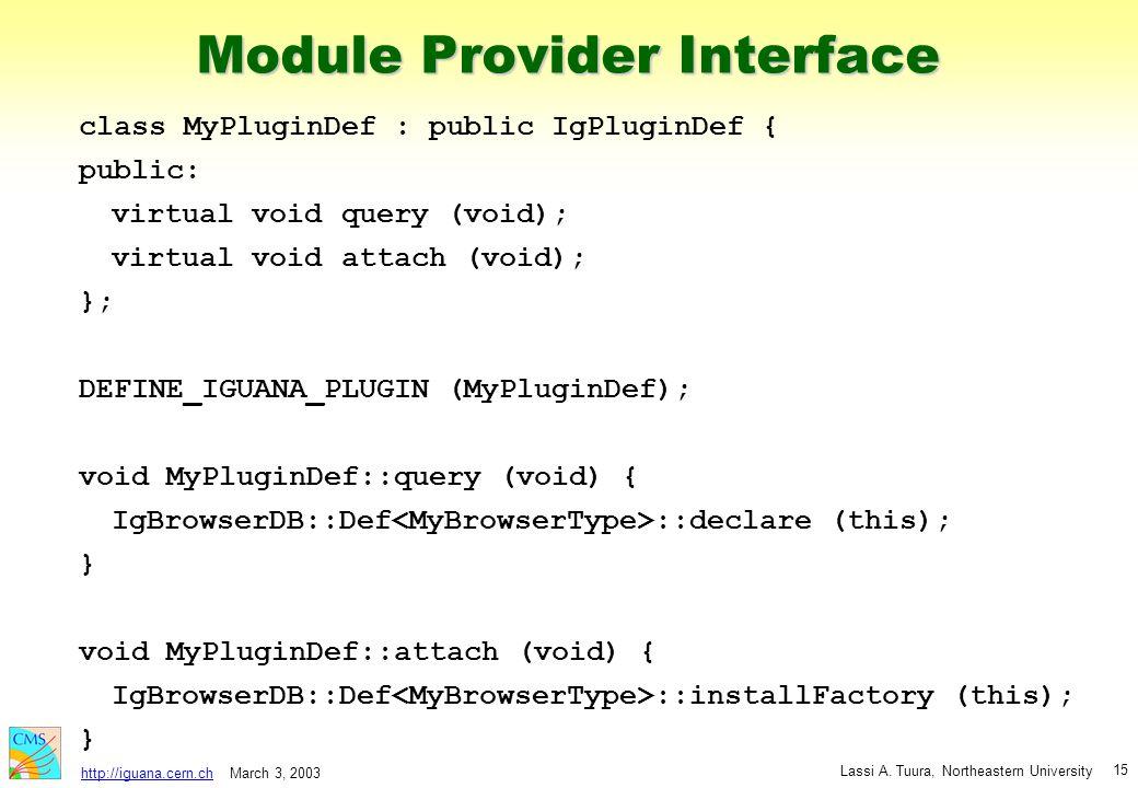 March 3, 2003 Lassi A. Tuura, Northeastern University http://iguana.cern.ch 15 Module Provider Interface class MyPluginDef : public IgPluginDef { publ