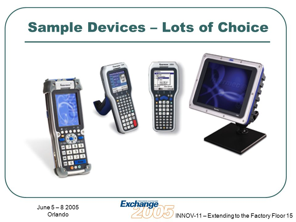 June 5 – 8 2005 Orlando INNOV-11 – Extending to the Factory Floor 15 Sample Devices – Lots of Choice