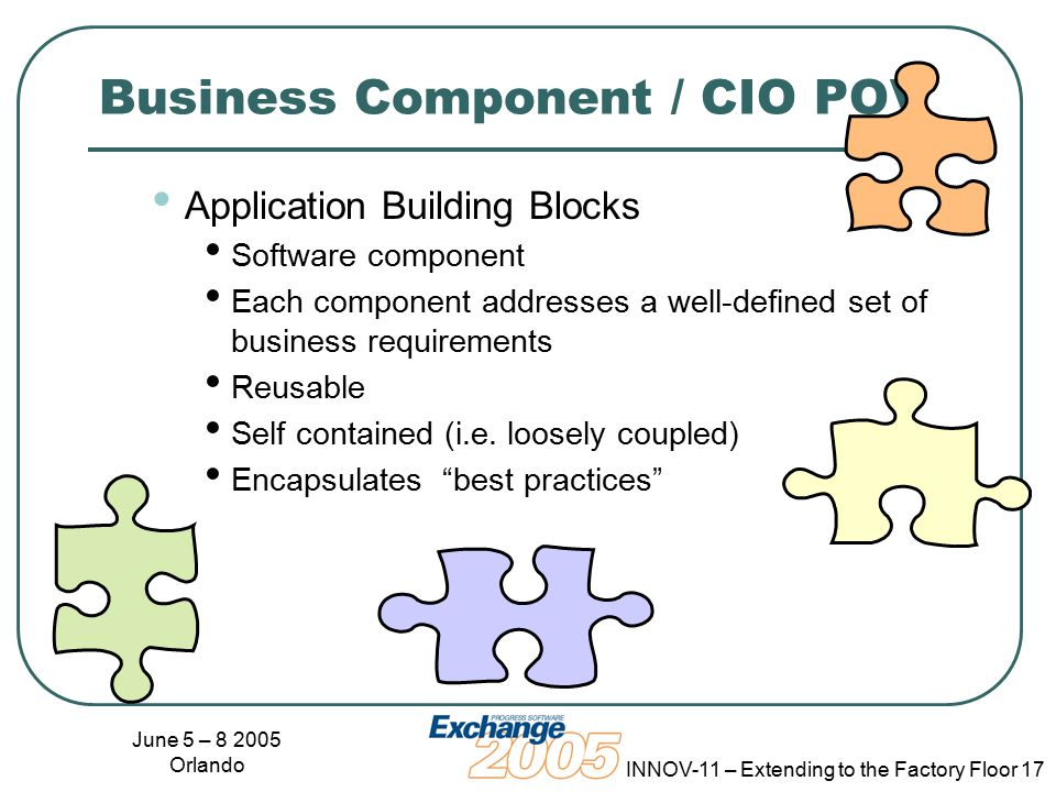 June 5 – 8 2005 Orlando INNOV-11 – Extending to the Factory Floor 17 Business Component / CIO POV Application Building Blocks Software component Each component addresses a well-defined set of business requirements Reusable Self contained (i.e.