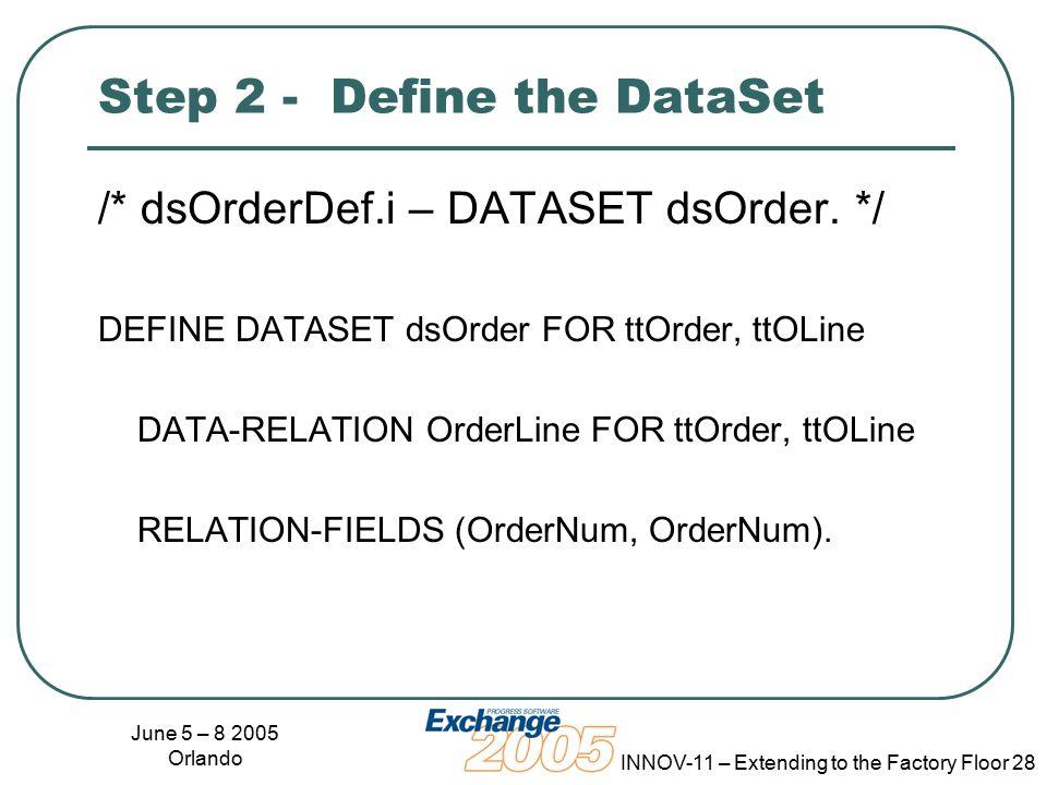 June 5 – 8 2005 Orlando INNOV-11 – Extending to the Factory Floor 28 Step 2 - Define the DataSet /* dsOrderDef.i – DATASET dsOrder.