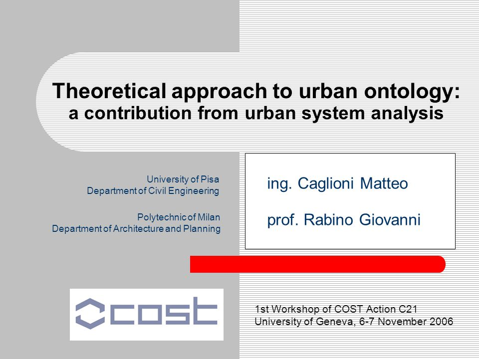 Theoretical approach to urban ontology: a contribution from urban system analysis ing.