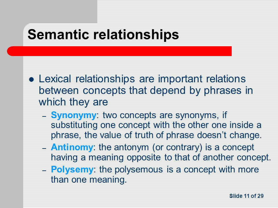 Lexical relationships are important relations between concepts that depend by phrases in which they are – Synonymy: two concepts are synonyms, if substituting one concept with the other one inside a phrase, the value of truth of phrase doesn't change.