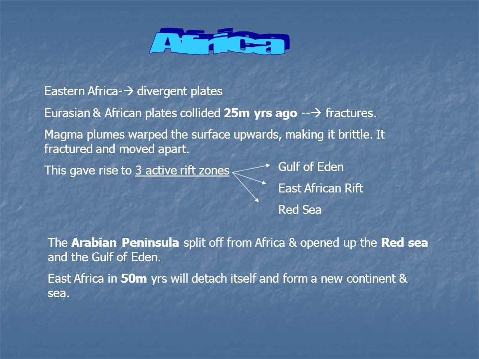 Eastern Africa-  divergent plates Eurasian & African plates collided 25m yrs ago --  fractures.