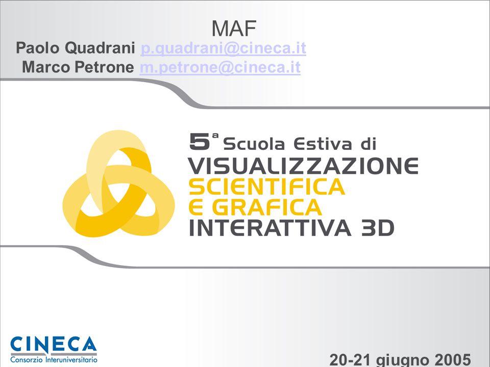 MAF Paolo Quadrani p.quadrani@cineca.itp.quadrani@cineca.it 20-21 giugno 2005 Marco Petrone m.petrone@cineca.itm.petrone@cineca.it