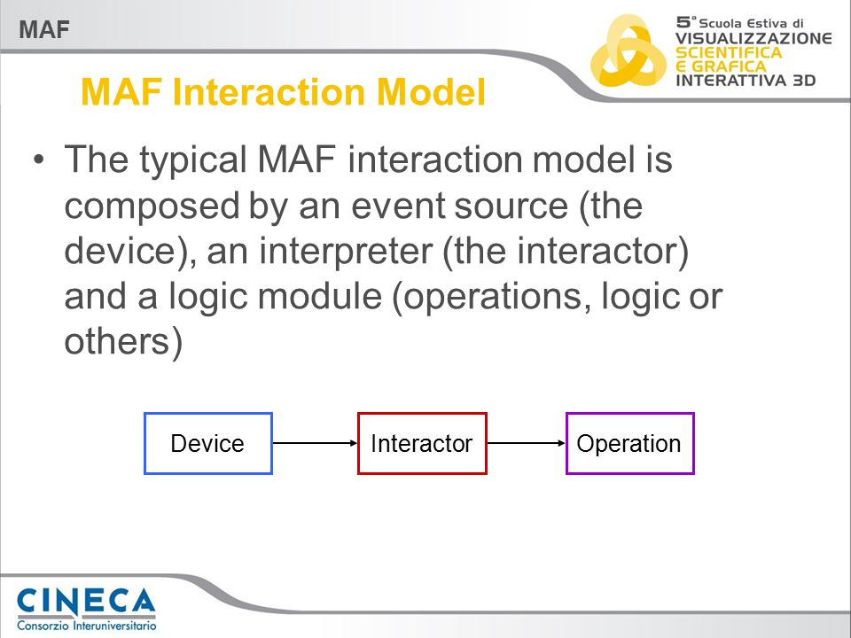 MAF MAF Interaction Model The typical MAF interaction model is composed by an event source (the device), an interpreter (the interactor) and a logic module (operations, logic or others) InteractorOperationDevice
