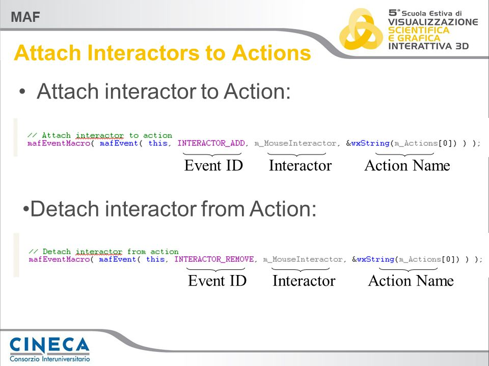 MAF Attach interactor to Action: Event IDAction Name Attach Interactors to Actions Interactor Action NameEvent ID Detach interactor from Action: