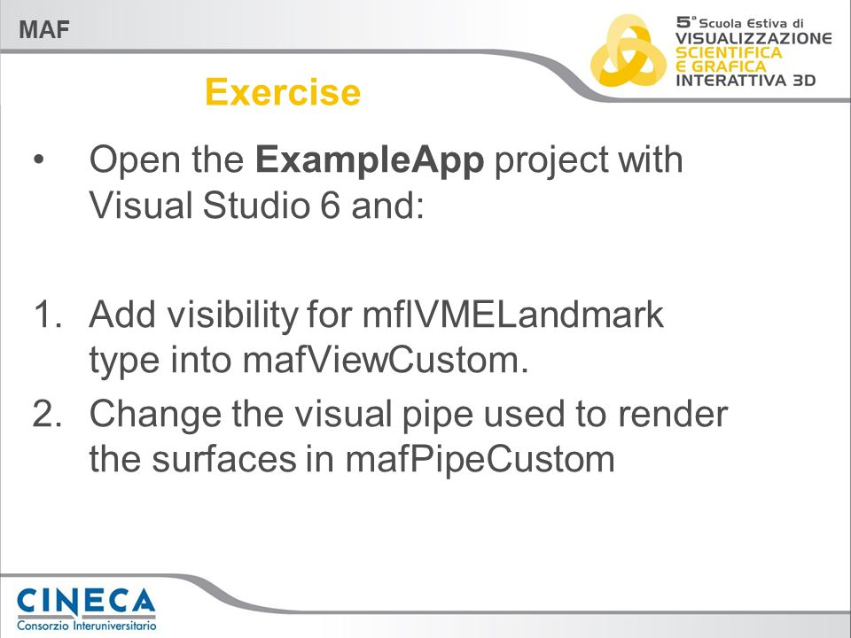 MAF Exercise Open the ExampleApp project with Visual Studio 6 and: 1.Add visibility for mflVMELandmark type into mafViewCustom. 2.Change the visual pi