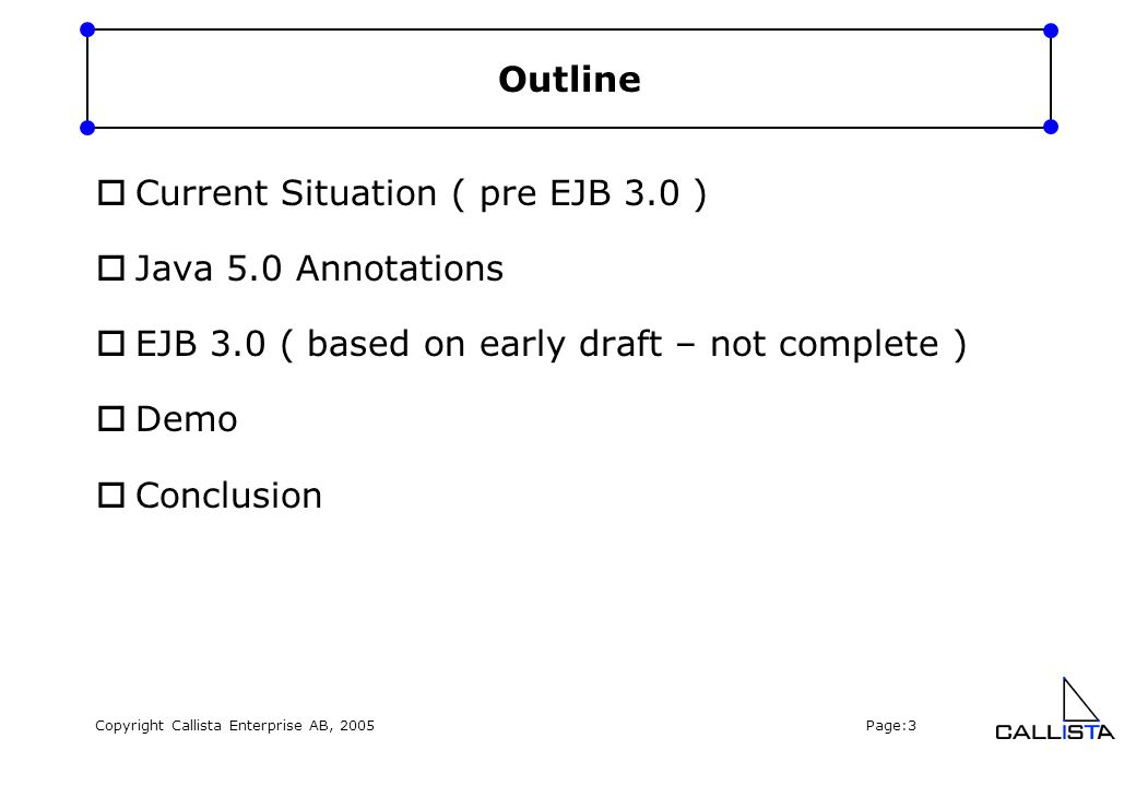 Copyright Callista Enterprise AB, 2005 Page:4 Current situation