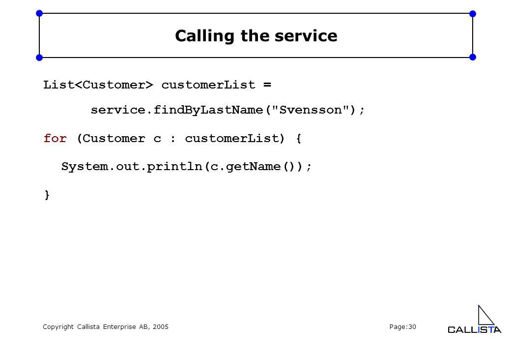 Copyright Callista Enterprise AB, 2005 Page:30 Calling the service List customerList = service.findByLastName(
