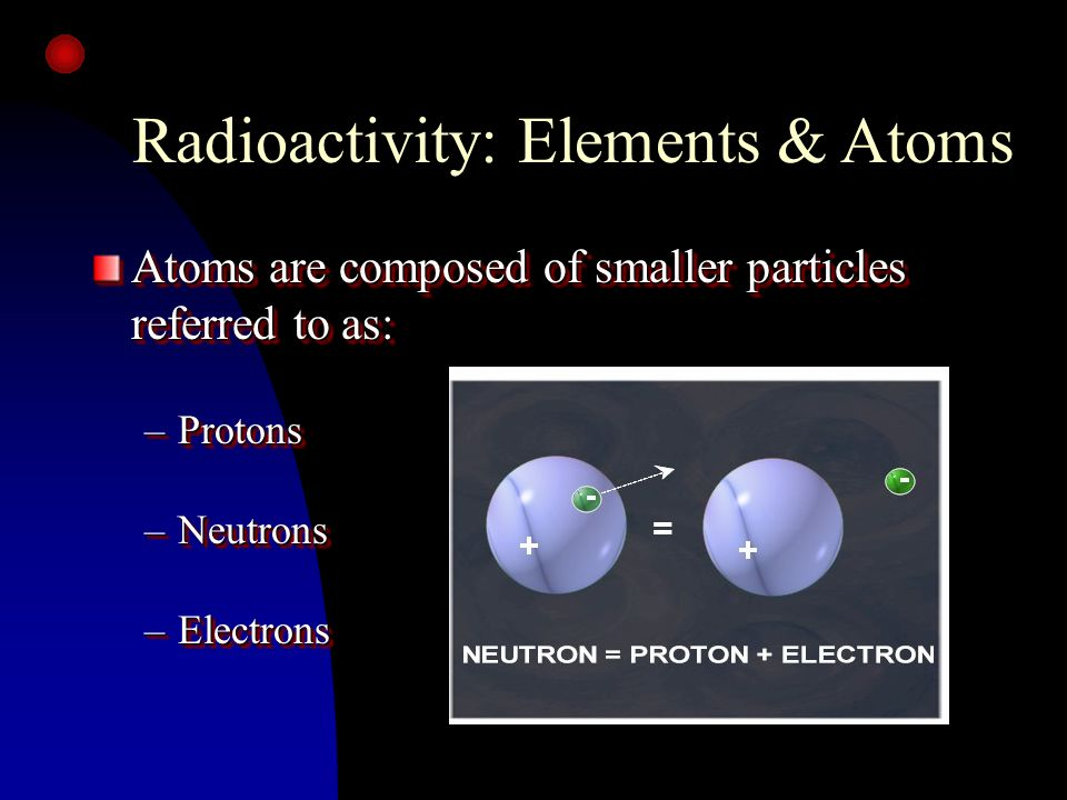 Beta Particle - ß n Small mass n Electrical charge of -1 n Emitted from nucleus n Range in air about 10 feet