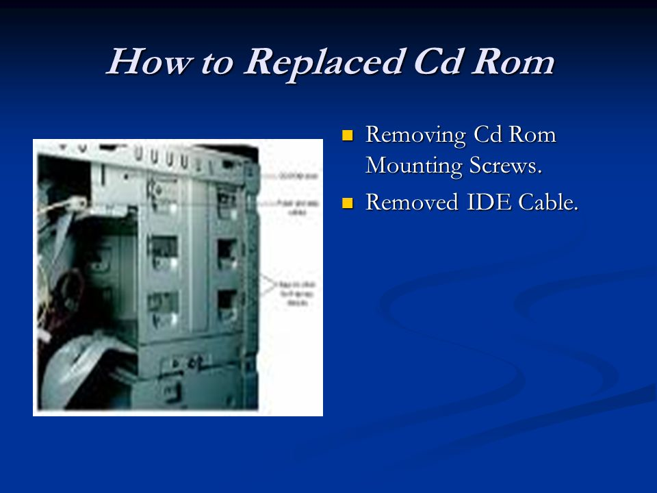 How to Replaced Cd Rom Removing Cd Rom Mounting Screws. Removed IDE Cable.