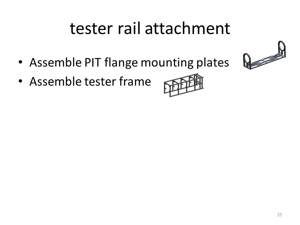 tester rail attachment Assemble PIT flange mounting plates Assemble tester frame 25