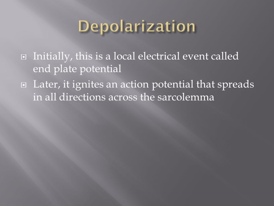  Initially, this is a local electrical event called end plate potential  Later, it ignites an action potential that spreads in all directions across