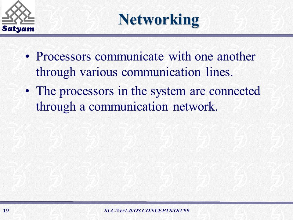 SLC/Ver1.0/OS CONCEPTS/Oct 9919Networking Processors communicate with one another through various communication lines.