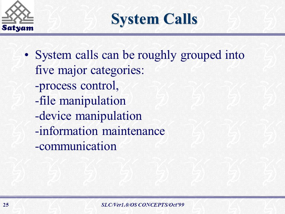 SLC/Ver1.0/OS CONCEPTS/Oct 9925 System Calls System calls can be roughly grouped into five major categories: -process control, -file manipulation -device manipulation -information maintenance -communication