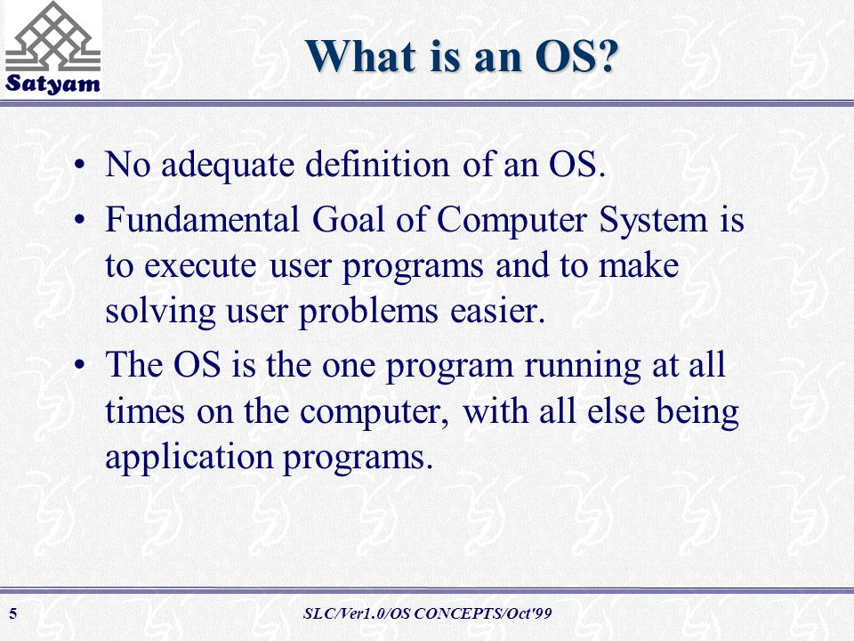 SLC/Ver1.0/OS CONCEPTS/Oct 995 What is an OS. No adequate definition of an OS.