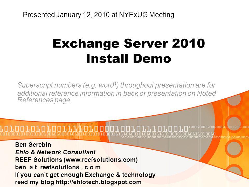 Exchange Server 2010 Install Demo Superscript numbers (e.g.
