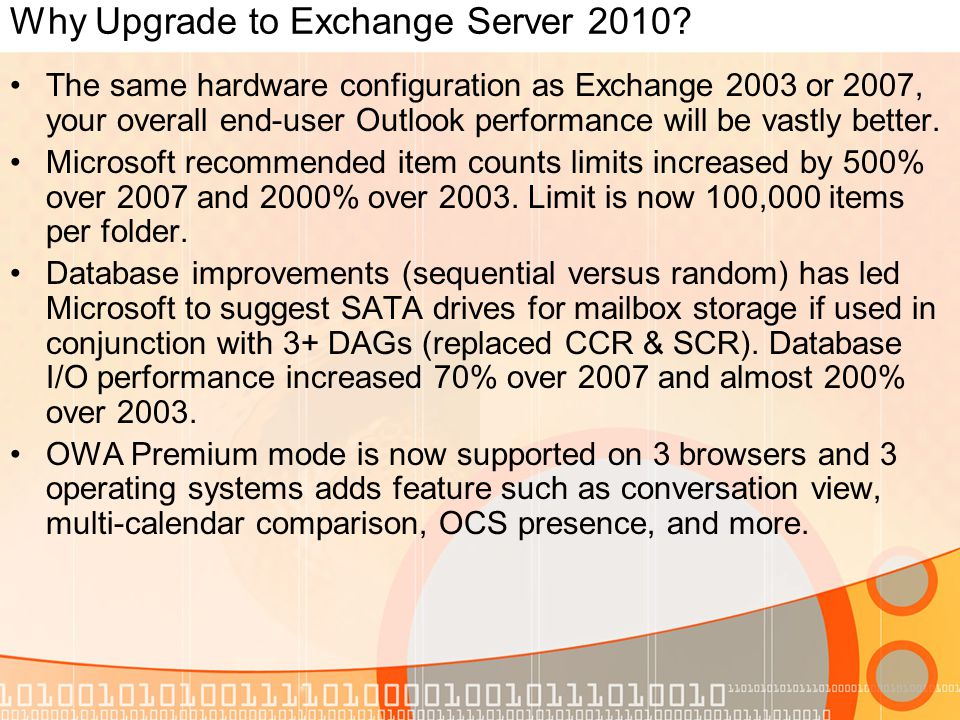 Why Upgrade to Exchange Server 2010.