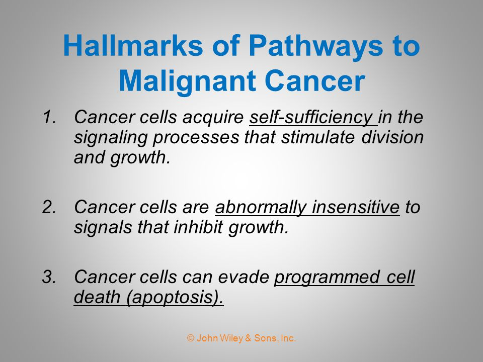 Hallmarks of Pathways to Malignant Cancer 1.Cancer cells acquire self-sufficiency in the signaling processes that stimulate division and growth.