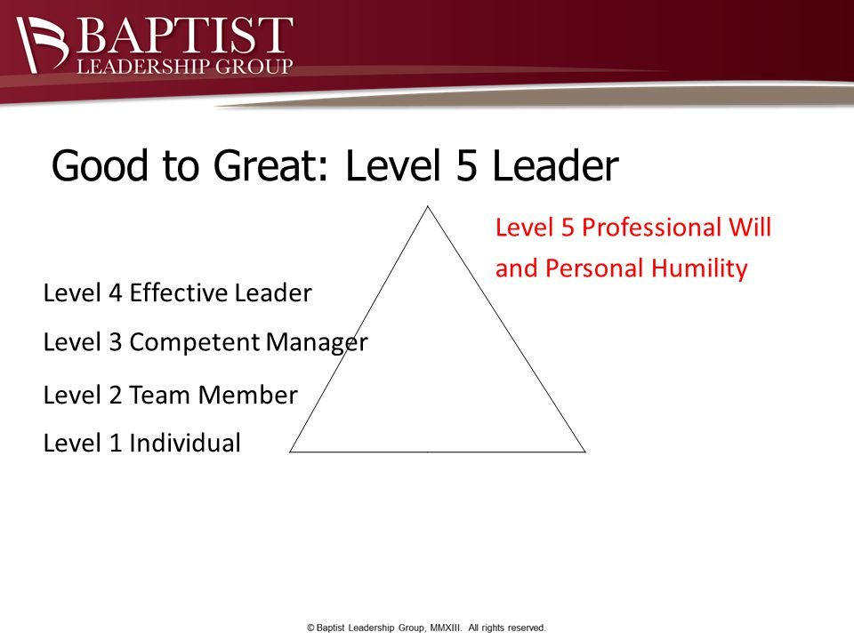 Good to Great: Level 5 Leader Level 1 Individual Level 2 Team Member Level 3 Competent Manager Level 4 Effective Leader Level 5 Professional Will and Personal Humility