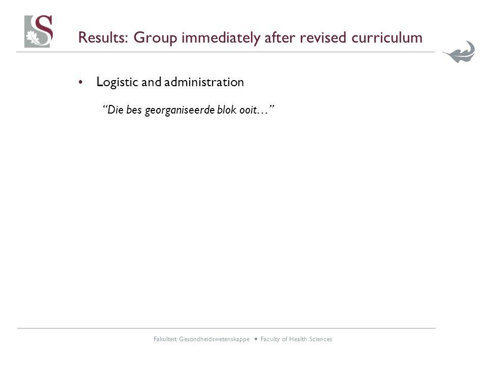 Fakulteit Gesondheidswetenskappe  Faculty of Health Sciences Results: Group immediately after revised curriculum Logistic and administration Die bes georganiseerde blok ooit…
