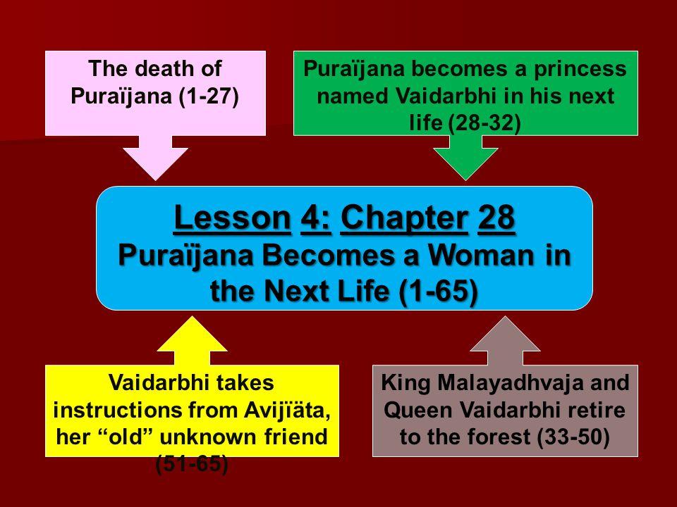 The death of Puraïjana (1-27) Yavana-räja, Prajvära, Kälakanyä, and their soldiers attacked and disabled the citizens of Puraïjana's city.
