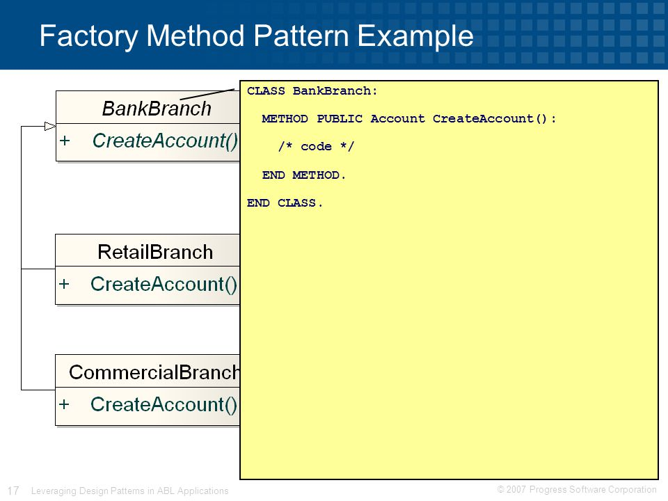 © 2007 Progress Software Corporation 17 Leveraging Design Patterns in ABL Applications Factory Method Pattern Example CLASS BankBranch: METHOD PUBLIC Account CreateAccount(): /* code */ END METHOD.