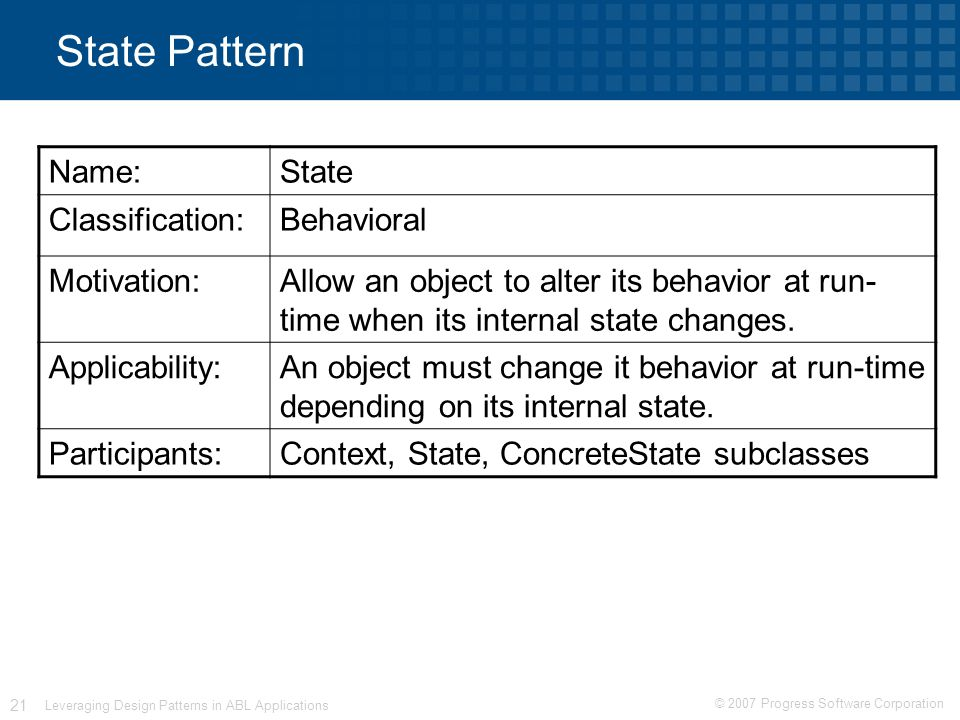 © 2007 Progress Software Corporation 21 Leveraging Design Patterns in ABL Applications State Pattern Name:State Classification:Behavioral Motivation:Allow an object to alter its behavior at run- time when its internal state changes.
