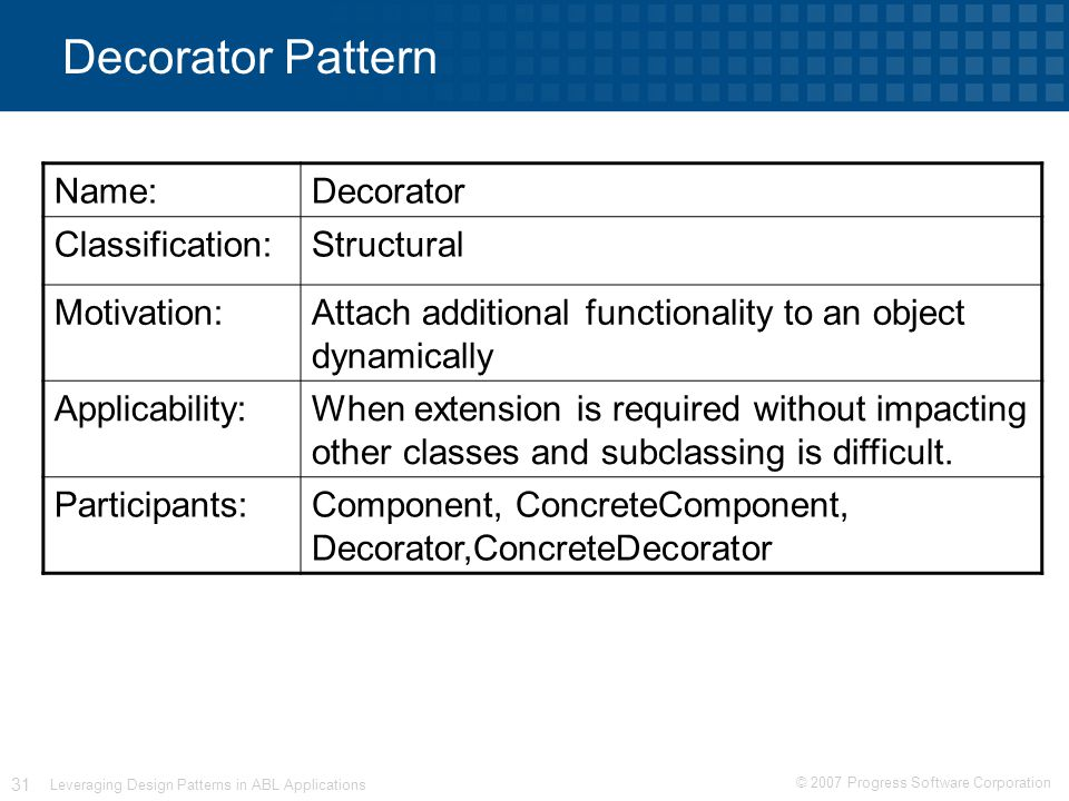 © 2007 Progress Software Corporation 31 Leveraging Design Patterns in ABL Applications Decorator Pattern Name:Decorator Classification:Structural Motivation:Attach additional functionality to an object dynamically Applicability:When extension is required without impacting other classes and subclassing is difficult.