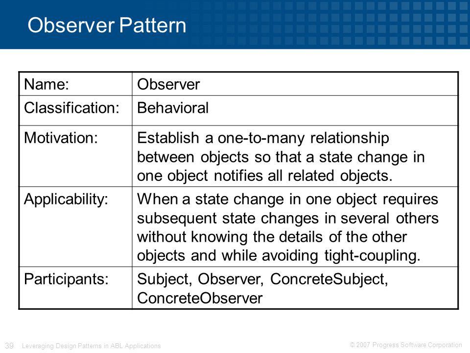© 2007 Progress Software Corporation 39 Leveraging Design Patterns in ABL Applications Observer Pattern Name:Observer Classification:Behavioral Motivation:Establish a one-to-many relationship between objects so that a state change in one object notifies all related objects.