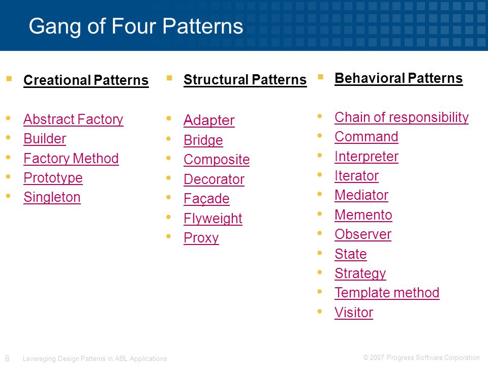 © 2007 Progress Software Corporation 8 Leveraging Design Patterns in ABL Applications Gang of Four Patterns  Creational Patterns Abstract Factory Builder Factory Method Prototype Singleton  Structural Patterns Adapter Bridge Composite Decorator Façade Flyweight Proxy  Behavioral Patterns Chain of responsibility Command Interpreter Iterator Mediator Memento Observer State Strategy Template method Visitor