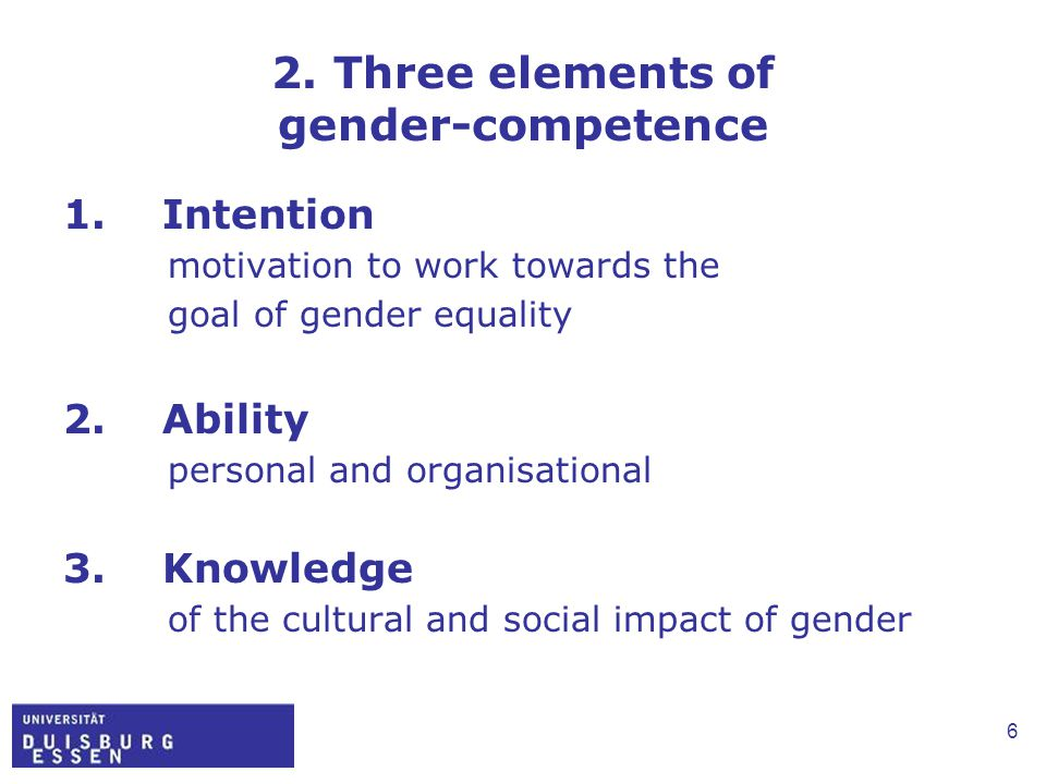 6 2. Three elements of gender-competence 1. Intention motivation to work towards the goal of gender equality 2. Ability personal and organisational 3.