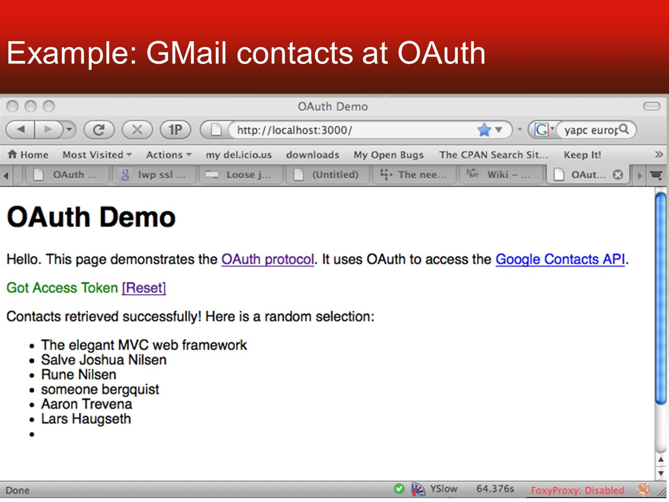 Example: GMail contacts at OAuth