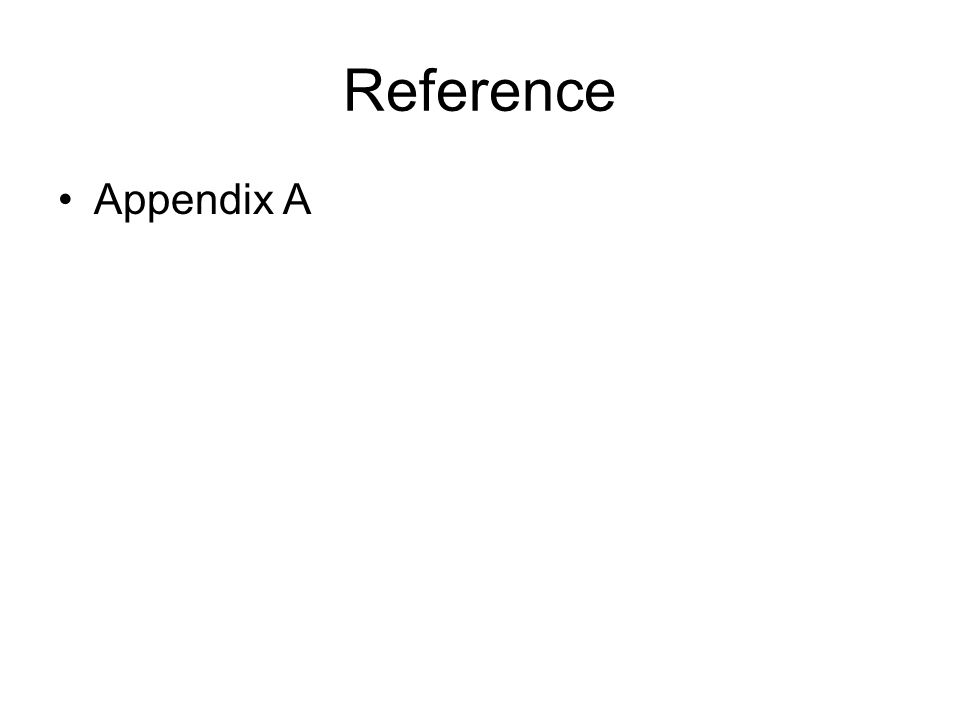 Reference Appendix A