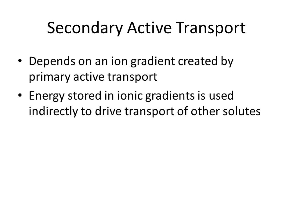 Secondary Active Transport Depends on an ion gradient created by primary active transport Energy stored in ionic gradients is used indirectly to drive