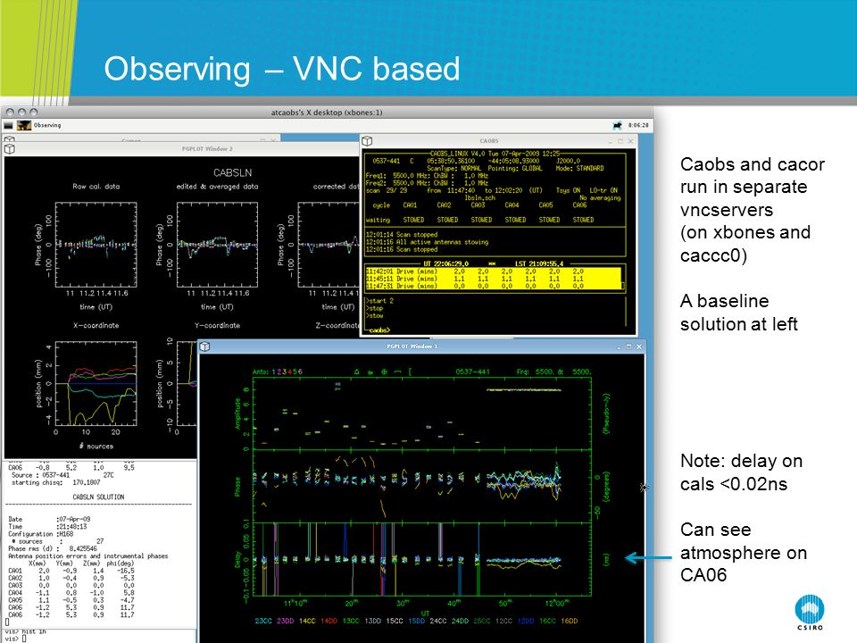 Observing – VNC based Caobs and cacor run in separate vncservers (on xbones and caccc0) A baseline solution at left Note: delay on cals <0.02ns Can se