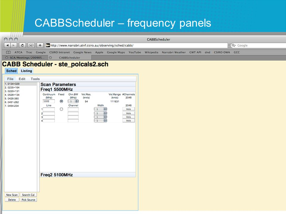 CABBScheduler – frequency panels