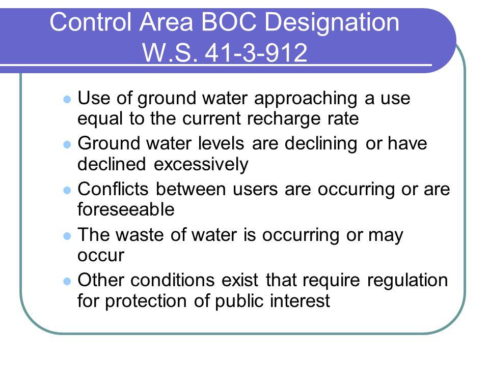 Control Area BOC Designation W.S.